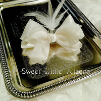 Off White Ivory Baby Girls Hair Bows Clip With Feathers Fancy Hair Accessories