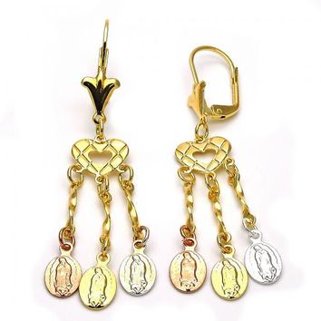 Gold Layered 02.63.2279 Chandelier Earring, Heart and Guadalupe Design, Diamond Cutting Finish, Tri Tone