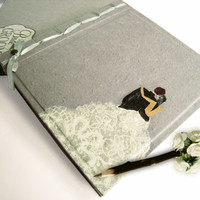 Personalize Bride & Groom Grey Wedding Victorian Guest book Photo Album