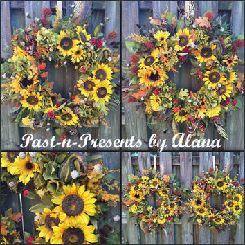 Reserved for Amanda, Double Door Harvest Sunflower Wreath, Floral Harvest Wreath, Sunflower Floral Wreath, Fall Harvest Wreath, Fall Decor