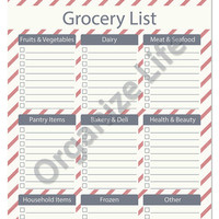 Grocery List with Categories - Printable PDF