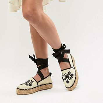 ASOS DESIGN Japana Embroidery Espadrilles at asos.com