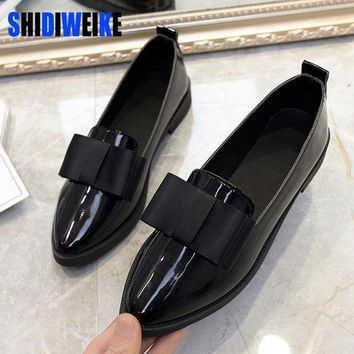 ONETOW SHIDIWEIKE Classic Brand Shoes Women Casual Pointed Toe Black Oxford Shoes for Women F