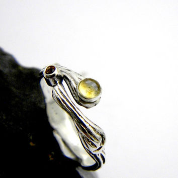 Citrine ring sterling silver natural citrine dual stone branch ring, twig stacking ring size 7.5, organic rustic band, November bithstone
