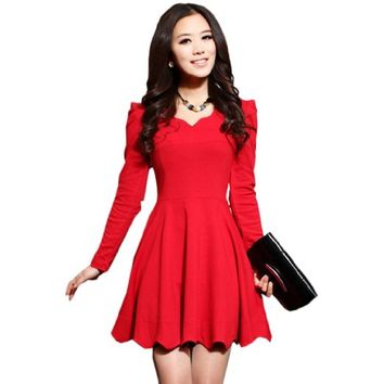 Fancy Dress Store Women's V-neck Base Short Skirt Long Sleeve Ruffle Top Dress