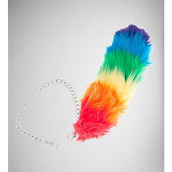 Rainbow Fur Tail Wallet Chain - Spencer's