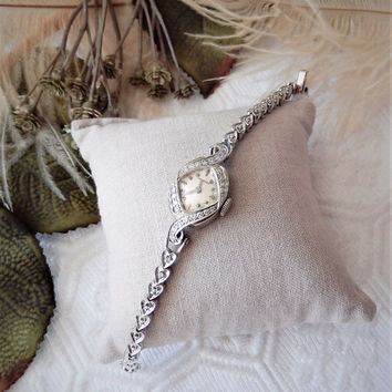 Vintage Longines 14K White Gold Diamond 17 Jewel Working Wind Up Watch