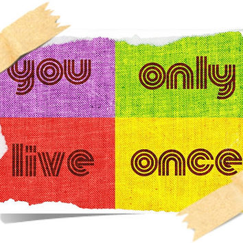 HAPPY POSTER print A4 - You Only Live Once - yolo - ART Deco - Design Inspirational Wall Hangings - Colorful Stylish Yellow Red Pink Purple