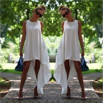 White Plain Sleeveless Asymmetrical hem Maxi Dress