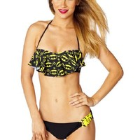 Batgirl Batman Ruffle Bandeau Side Loop Hipster Bikini Set