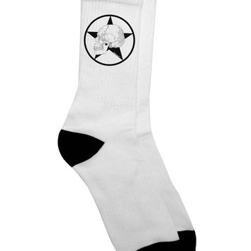 White Skull With Star Adult Crew Socks  by TooLoud