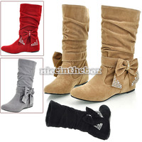 Boots Bow Decoration Mid-Calf OL Style Shoes 4 Sizes Women's Fashion N98B