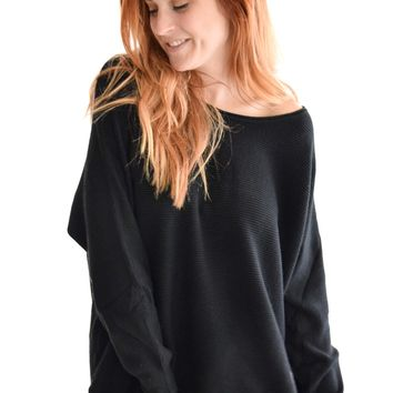 Sitting by the Fire Sweater In Black