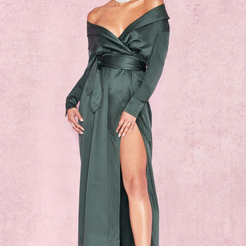 Clothing : Max Dresses : 'Antoinette' Evergreen Satin Off Shoulder Maxi Wrap Dress