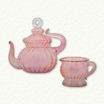 Boxed Set of Pink Teapot and Pink Tea Cup Handcrafted Egyptian Glass Ornaments