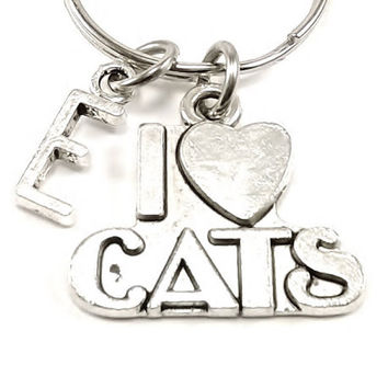 I Love cats charm, keychain, bag charm, purse charm, monogram personalized custom gifts under 10 item No.191