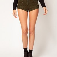 ASOS High Waisted Denim Shorts in Khaki with Studs at asos.com
