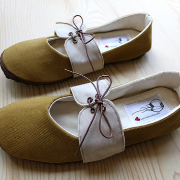 Organic Vegan Handmade Shoes Mustard Oxford by HydraHeart on Etsy
