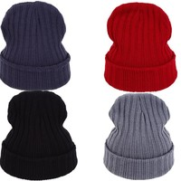 VORON New Winter Solid Color Knitted Beanie Skullies Beanies Hat Bonnet Cap Skullies Hats Beanies Stocking Gorros For Men Women