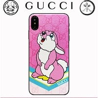 GUCCI Stylish Lovely Rabbit Cartoon Pattern Mobile Phone Cover Case For iphone 6 6s 6plus 6s-plus 7 7plus 8 8plus X XsMax XR