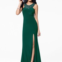 Dark Green Halter Dress with Bead Detail - Gowns - Dresses