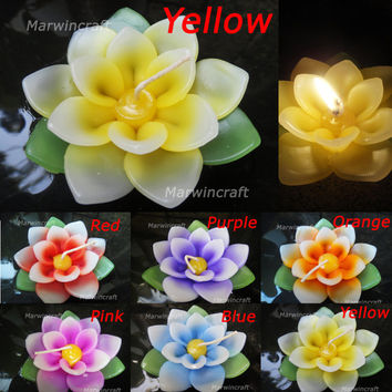 Set of 6 Pcs. Mix Colour  Lotus Flower Soy Wax by marwincraft
