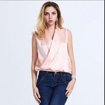 European And American Fashion Ladies Shirt Sleeveless Shawl Collar Shirt Silk Blouse For Ladies