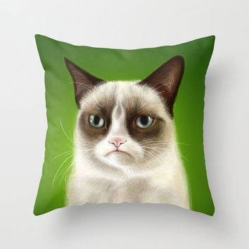 Grumpy Cat Tard Tardar Sauce Green Throw Pillow by Olechka
