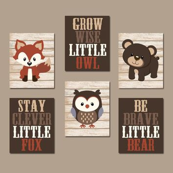 WOODLAND Nursery Wall Art, Woodland Nursery Decor, Forest Animals, Carter Forest Friends, Owl Fox Bear Quotes, Canvas or Prints Set of 6