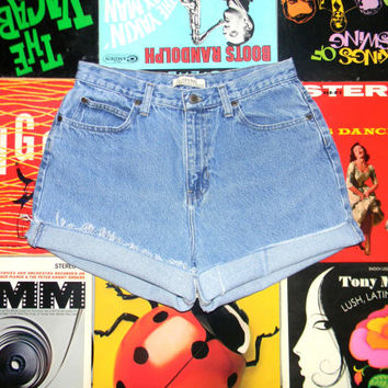 Vintage Denim Shorts - 90s LIGHT Stone Washed Jean NATURAL REFLECTION Shorts - High Waisted, Frayed, Distressed, Perfectly Worn, Size 12 L