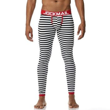 JOCKMAIL Men's Cotton Long Johns Thermal Underwear with Stripes