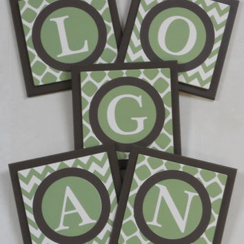 Green and Brown Personalized Baby Boy Nursery Decor - Quatrefoil Chevron Pattern - Custom Design Wood Wall Letter Name Sign