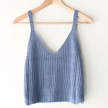 Sweater Crop Tank Top - Dusty Blue