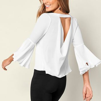 Black Drape Back Flounce Top from VENUS