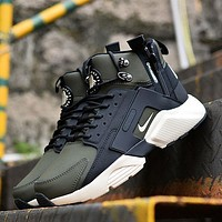 Sale Nike Air Huarache X Acronym City Customise MID Leather Sport Shoes Army Green White