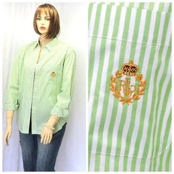 Vintage 80s Ralph Lauren white/green striped cotton oxford shirt L preppy long sleeve