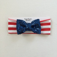 USA stars and stripe Glitter bow headband, babies children adults , 4th of july , Flag Day, presidents day , Memorial day