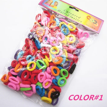 90 Pcs/ Pack  Elastic Candy Color Baby Girls' Towel Hair Ropes Kids' Hair Bands (Color: Multicolor) = 1958630532