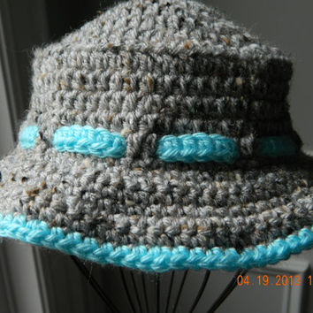 Beach boy, girls crocheted sun hat,grey heather,bright blue trim/FREE SHIP/safari hat/Toddler/Newborn/Tween/READY to Ship/bucket hat