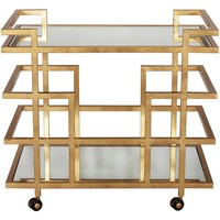Worlds Away Ireland Bar Cart-Gold