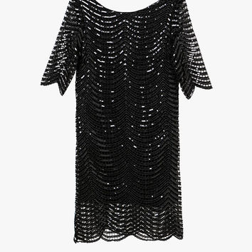 Black Oversized Sequin Mini Dress