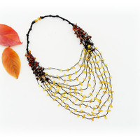 Amber Necklace - Genuine Baltic Amber Chips Necklace - Multistrand Necklace - Airy Necklace - Christmas Gift
