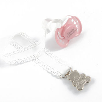 Adult baby pacifier clip - ABDL soother clip - DDLG dummy chain in white