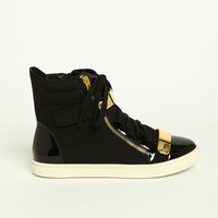 Leatherette Mid Top Sneakers