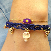 Evil eye bracelet with a skull charm oval purple turkish istanbul jewelry best friend birthday day of the dead christmas gift for teenagers