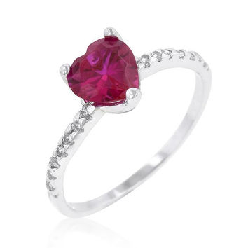 Ruby Red Heart Ring, size : 07