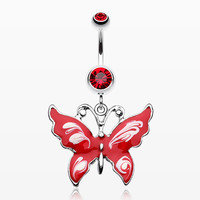 Marble Butterfly Belly Button Ring