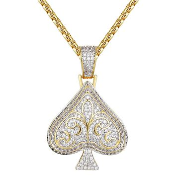 14k Gold Finish Iced Out Playing cards Spade Pendant