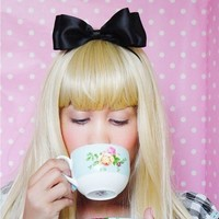 Alice in Wonderland Hair Bow Headband BLACK Elastic Stretch Gifts for Her Ideas