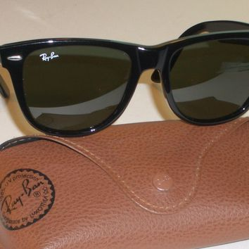 54[]18mm RAY BAN RB2140 901 THICK SHINY BLACK G15 UV GLASS WAYFARER SUNGLASSES